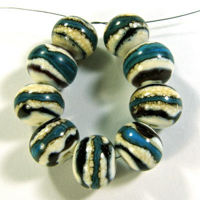 Black and Shimmering Silver Glass Lampwork Beads For BraceletNecklace Jewelry Supplies by Judy