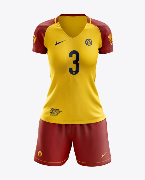 Download Women S Soccer Kit Mockup Front View In Apparel Mockups On Yellow Images Object Mockups Clothing Mockup Soccer Kits Women S Soccer