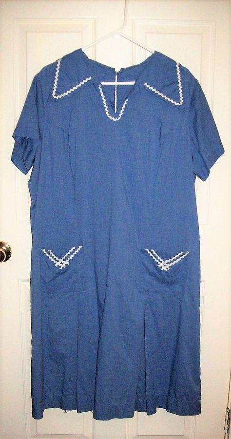 88fb977e617 Vintage 1940s Ladies Blue Cotton Day Dress by Roamans Fifth Ave Plus Size  22 1