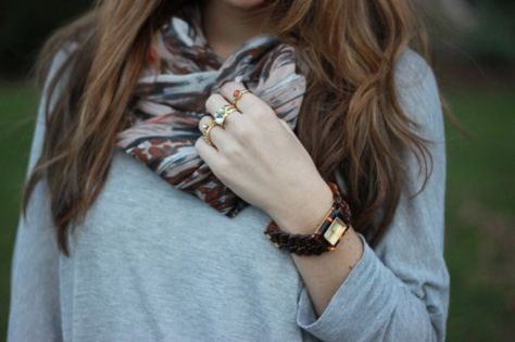 Scarf, ring, watch