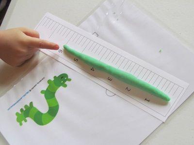 Measuring Play Dough Inchworms: Fine Motor/Math Activity