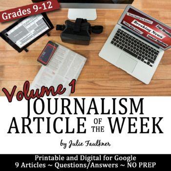 Article of the Week, Journalism and Yearbook, Volume 1, Printable & Digital