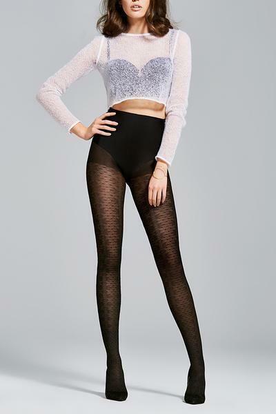 Fiore Weekend 60 Den Tights Pantyhose Hosiery Nylons Linen, Black