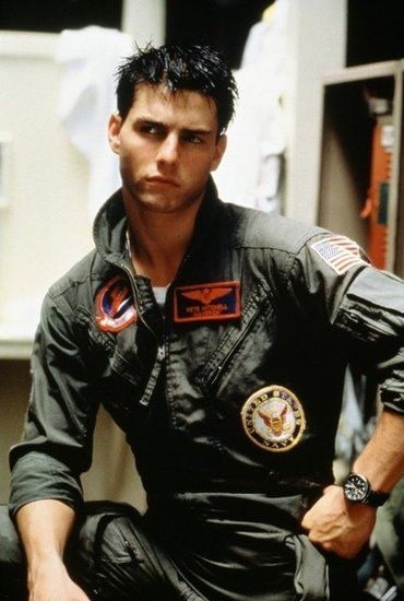 Tom Cruise in Top Gun, back when he was every young girl's dream. Before becomming a nut case