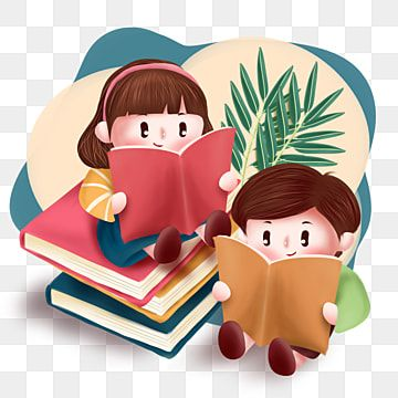 Hand Painted Cartoon World Reading Day Children S Reading Can Be Used For Commercial Illustrations Character Boy Girl Png Transparent Clipart Image And Psd F World Reading Day Cartoon World Reading
