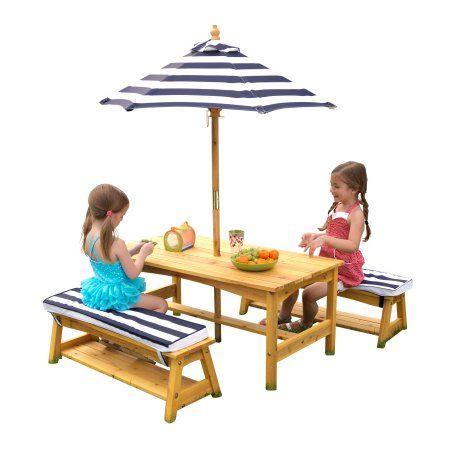 Kidkraft Outdoor Table Bench Set With Cushions Umbrella Navy