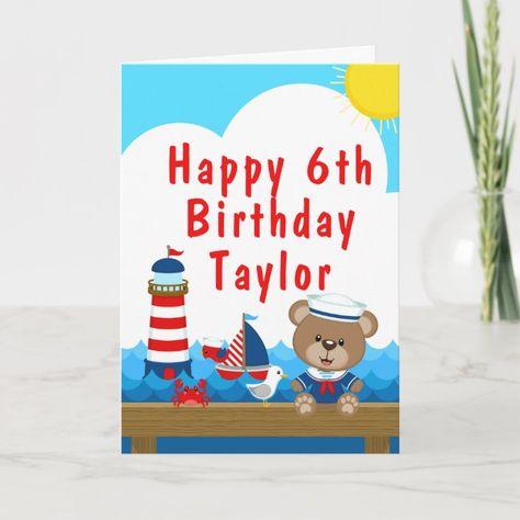 Nautical Boy Bear Happy Birthday Red and Blue Card | Zazzle.com