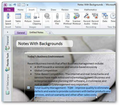 Personalize Your Onenote 2010 Notebooks With Backgrounds And More One Note Microsoft One Note Tips Computer Skills