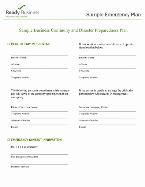 Emergency Response Plan Template For Small Business In 2020