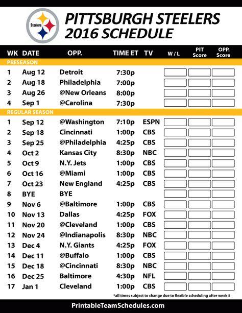 2016-17 Pittsburgh Steelers Schedule
