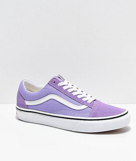 Vans Old Skool Violet & White Skate Shoes | Chaussures ...
