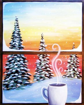 Cozy Cup of Coffee, window winter scene painting. Cute beginner painting idea.