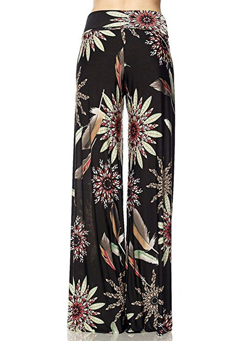 Boho Gaucho Leg Clothing Palazzo Waist Niobe Wide Pants High Print 4q3Rc5jALS