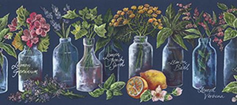 Blue Tuscany Jar Herb Fruit Flower Script Kitchen Country Wallpaper Border Fruit Wallpaper Wallpaper Kitchen Wallpaper