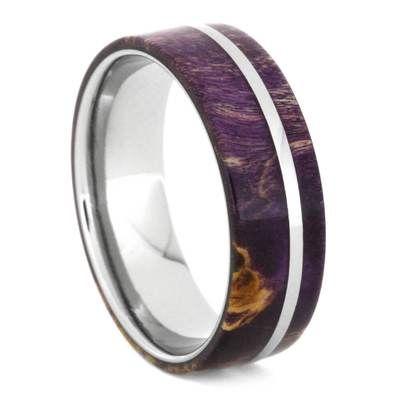 Purple Box Elder Wood Wedding Band With Titanium Pinstripe 1658