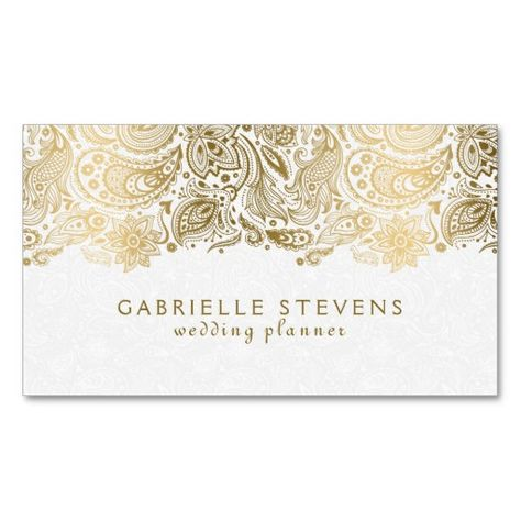 Gold And White Paisley Lace Business Card | Zazzle.com