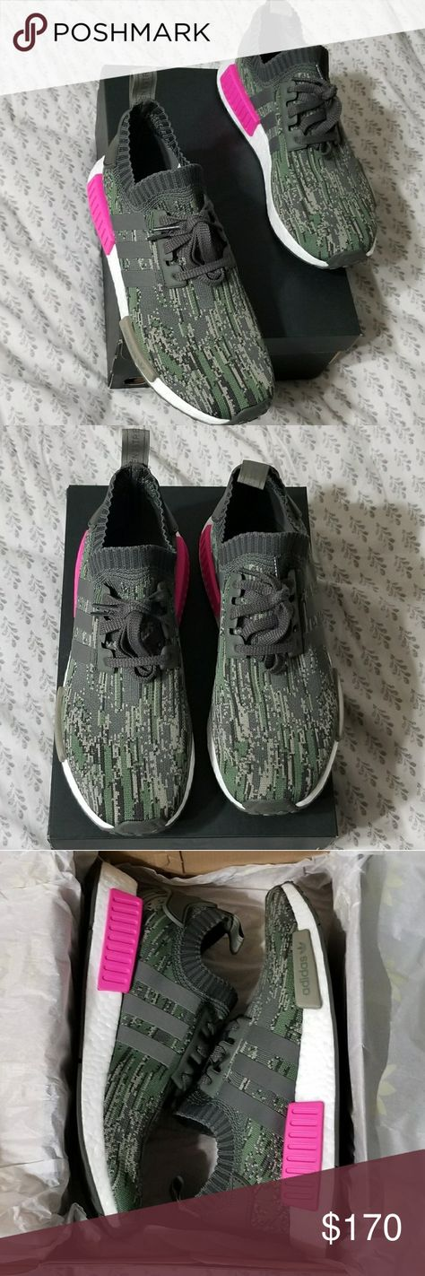 19c5265b0 Adidas NMD R1 PK New in original box Adidas nmd r1 primeknit utility grey  glitch camo men s size 9.5 shock pink. Never been worn adidas Shoes Sneakers