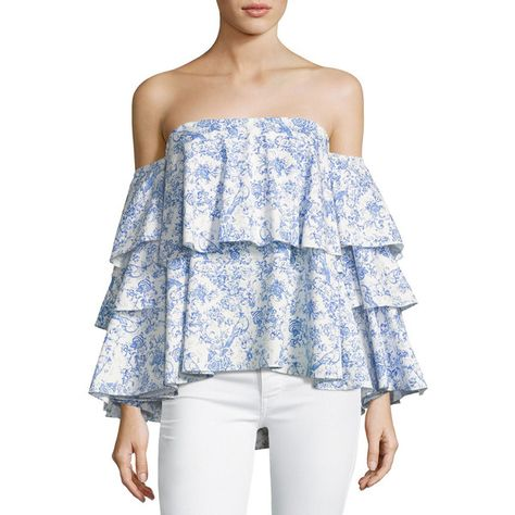 cf221188908417 Caroline Constas Carmen Off-the-Shoulder Printed Blouse ( 520) ❤ liked on Polyvore  featuring tops