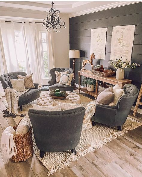 "Farmhouse Stylebook on Instagram: ""Cozy sitting area. And loving that wall.  #farmhouse #farmhousedecor #farmhousebedroom #farmhousebath #interiordesign #rustic #vintage…""#area #cozy #farmhouse #farmhousebath #farmhousebedroom #farmhousedecor #instagram #interiordesign #loving #rustic #sitting #stylebook #vintage #wall"