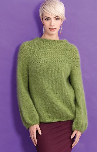 As seen in Vogue Knitting Fall 2019. Yoke Pattern Pullover by Yoko Hatta (風工房) made with Adriafil KidSeta from Plymouth Yarn