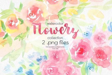 Watercolor Floral Designs (1345959) | Illustrations | Design Bundles