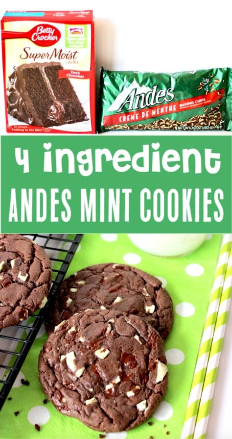 {Just 4 Ingredients} - The Frugal Girls Cake Mix Cookies Recipes Easy Chocolate Andes Mint Cookie Recipe! Just 4 ingredients and you've got the hit of the party! Go grab the recipe and give it a try! Köstliche Desserts, Dessert Recipes, Picnic Recipes, Picnic Foods, Health Desserts, Andes Mint Cookies, Andes Mint Cupcakes, Rainbow Cupcakes, Menta Chocolate