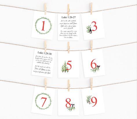 Printable Advent Calendar   Christmas Countdown PDF   Scripture Cards Digital Download   Nativity Story   Holiday Decor