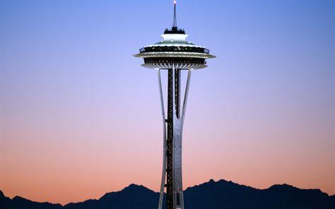 Download Wallpapers Space Needle Skyline Usa Sunset Seattle Washington America Sfondi Citta