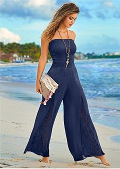 Order a sexy Sleeveless Smocked Jumpsuit With Lace Detail by VENUS online or