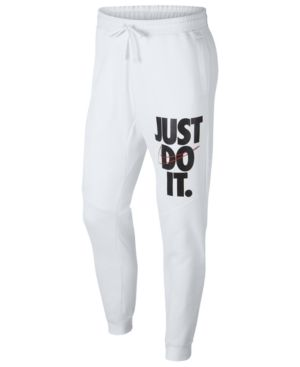 Nike Men's Sportswear Just Do It Fleece Joggers In White ...