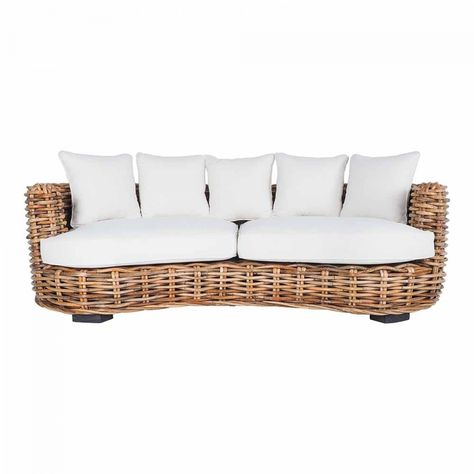 Capella 3 Seater Rattan Sofa Fabric Lounges Upholstery