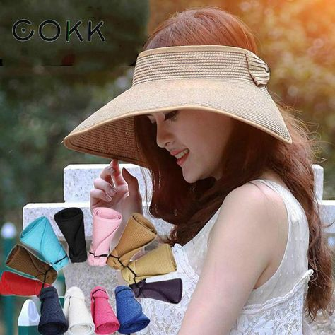 9893bc608e8dd3 $12.63 - Cool COKK Brand 2017 New Spring Summer Visors Cap Foldable Wide  Large Brim Sun Hat Beach Hats for Women Straw Hat Wholesale Chapeau - Buy  it Now!