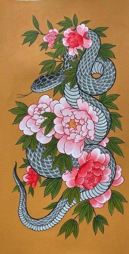Every unique tattoo might mean something different to the person who has been tattooed. The traditional snake tattoo designs are diverse as their meanings are. Here are a few traditional Japanese snake tattoo designs worth considering. Traditional Japanese Tattoo Designs, Japanese Snake Tattoo, Japanese Tattoo Women, Japanese Tattoo Symbols, Japanese Sleeve Tattoos, Traditional Snake Tattoo, Japanese Peony Tattoo, Japanese Flowers, Traditional Flower Tattoos