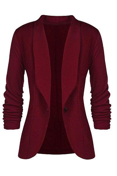 Fold Over Collar Single Button Plain Blazers   Fashion