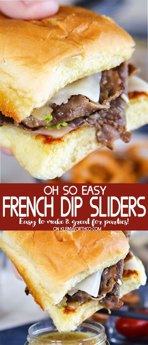 Easy French Dip Sliders are great for picnics, parties & tailgating fun. Simple … Easy French Dip Sliders are great for picnics, parties & tailgating fun. Simple to make, with homemade au jus for dipping these roast beef & caramelized onion sliders. Roast Beef Au Jus, Roast Beef Sliders, Roast Beef Sandwiches, Roast Beef Sauce, Roast Beef Tacos, Roast Beef Panini, Beef Steak, Sandwich Bar, Soup And Sandwich