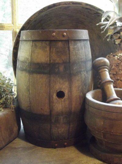 rustic barrel & mortar & pestle.