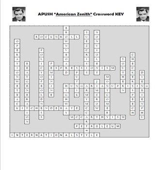 APUSH American Zenith Vocabulary Crossword Review | AP Test