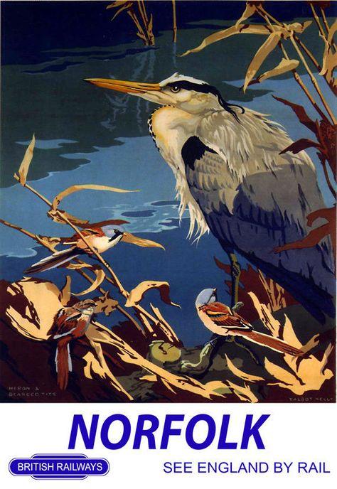 Norfolk 5 British Railway Travel Advert Old Vintage Retro Bird Picture Poster