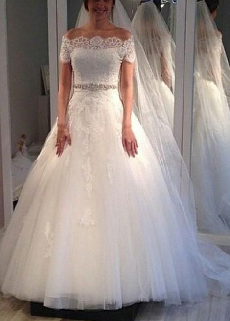 Off The Shoulder A Line Wedding Dress 2018 New Short Sleeves Bridal Dresses Vestidos De Novia Bds0587 Online Wedding Dress Ball Gowns Wedding Wedding Dress Train