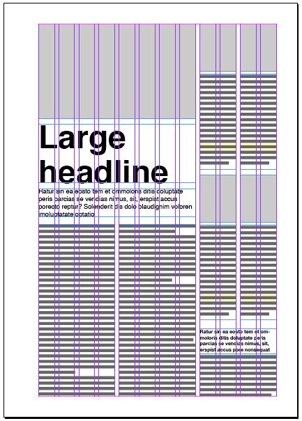 Twelve column layout. It gives you so much options on how to lay out your text and image blocks. Rarely used in magazines, more often in newspapers.