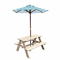 Uhom Kids Wooden Picnic Table Children Bench With Market Umbrella
