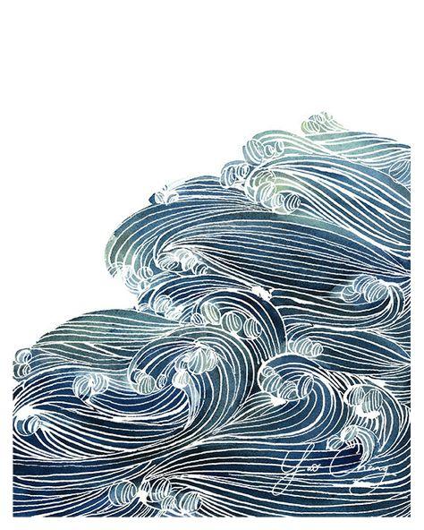 Wellen des Ozeans in blau und grün Aquarell von YaoChengDesign