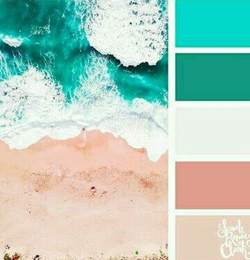 Medium Cyan Green Off White Dusty Peach Light Pink Beige Beach