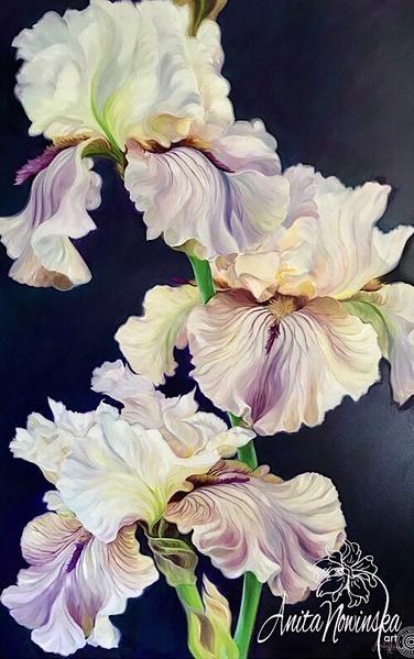 Bright Heart Purple Iris Flower Paintings Flower Art Painting Flower Painting Iris Painting
