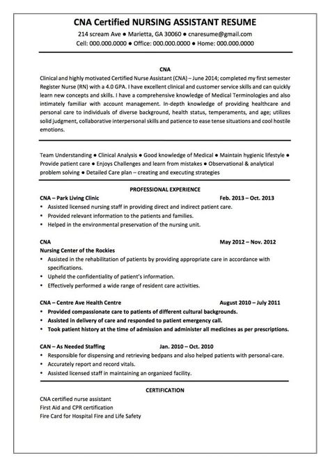 Certified Nursing Assistant Resume Examples 19 Best Resumé Images On Pinterest  Resume Help Resume Tips And .