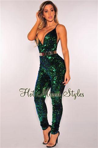 Mermaid Green Sequins Open Back Jumpsuit