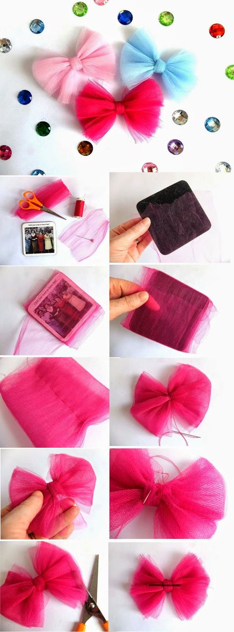The DIY Fox: Tulle Bow Tutorial Basteln, machen, Haare, Netz www. Toddler Hair Bows, Baby Hair Bows, Diy Bow, Diy Ribbon, Ribbon Hair, Ribbon Flower, Fabric Flowers, Tulle Hair Bows, Pink Tulle