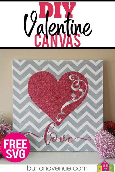 Diy Chevron Valentine Canvas Valentines Diy Crafts Valentine S