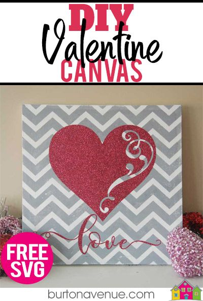 Diy Chevron Valentine Canvas Valentines Diy Fun Diy Craft