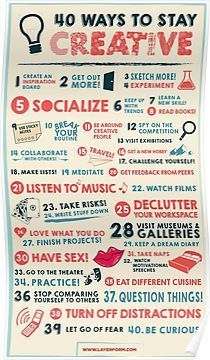 40 Ways to Stay Creative Poster Posters